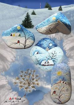 Art - Time... Beautiful winter scenes painted on stones!!