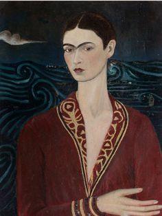 Self-portrait Wearing a Velvet Dress by Frida #Kahlo #fineart #art #DonnaInArte