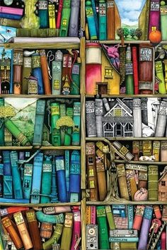 Reading Art - Inspiration for book lovers and book worms. I Love Books, My Books, Pics Of Books, Illustration Art, Illustrations, Art Graphique, Book Nooks, Bookshelves, Bookshelf Wall