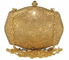 Geneva Gold Anthony David Handbag Evening Bag Purse with Swarovski Crystals Swarovski Crystal Clutch Purses, Evening Bags, Leather Purses, J...