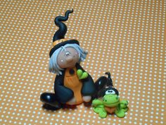 Polymer Clay Witch and Frog SET of Two - Figurines