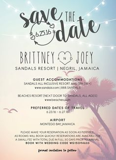 Destination wedding etiquette all your q planning weddings made this is interesting because of all the information they included on the save the date we might want to do something similar junglespirit Gallery