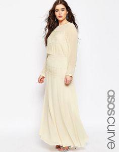 ASOS Curve | ASOS CURVE - Robe longue avec empiècement en dentelle délicate chez ASOS