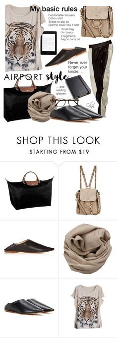 """""""My Airport Style"""" by olga1402 ❤ liked on Polyvore featuring Longchamp, Moleskine, Chloé, Acne Studios, Brunello Cucinelli, WithChic, cassual and airportstyle"""