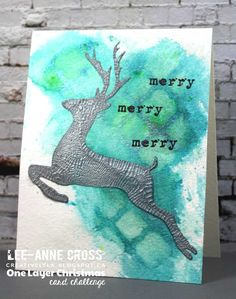 One Layer Christmas Card  using ARTplorations stencils and STAMPlorations stamps