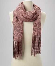 Take a look at this Taupe Floral Fringe Scarf on zulily today!