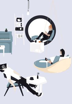 Interesting Find A Career In Architecture Ideas. Admirable Find A Career In Architecture Ideas. People Illustration, Flat Illustration, Coffee Shop Interior Design, Interior Design Drawing, Coffee Design, Photocollage, Designs To Draw, Planer, House Design
