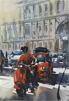 """Red and Grey - Rome"", Thomas W Schaller -watercolor: Google+"