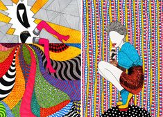 Contemporary fashion illustrations collage and pen visual inspiration