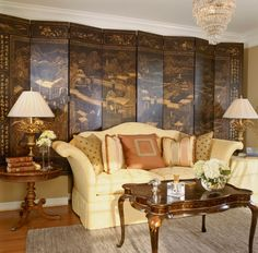 Living room decor with Ming Dynasty folding screen and beautiful lamps with hand cast brass flowers; unique lighting; living room decorating ideas. Lamp $1,450