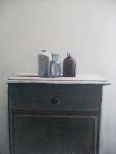 Leon Spierenburg, Still life on a cabinet. Art - Bottles