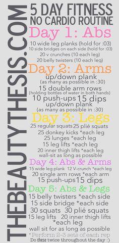 5 Day Fitness Routine: No Cardio Routine