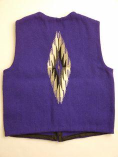 ナンベ・ウィーバー 手織りチマヨ・ベスト NW-V34007 スラント(Slant)フロント サイズ34 パープル ウール100% アメリカ製