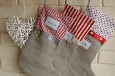 Christmas Stockings - Family of 3. $90.00, via Etsy.