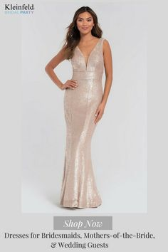 V-Neck Sequin Kleinfeld Long Bridesmaid Dress