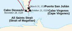 Detail of map of Magellan and Elcano's journey, from 1519 to 1522. Made by Uxbona, based on Sémhur's work (Wikimedia)