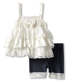 Amazon.com: Little Lass Baby-Girls Infant 2 Piece Short Set With Legging Detail: Clothing