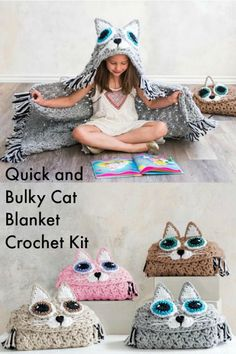 Quick and Bulky Cat Blanket Crochet Kit by MJs Off the Hook Designs. Really cute with color choices! #kids #affiliate