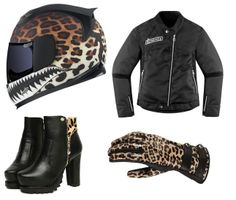 Icon Motorcycle Outfit...Leopard! Cute i dont know about the shoes??>.