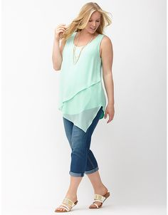 95487da2c443c Chiffon draped asymmetric tank by Lane Bryant