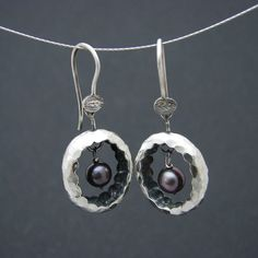 black nest earrings by SILVENE on Etsy