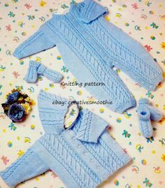 (572) PREMATURE-2Y, BABY ALL in ONE, JACKET, BOOTEES, MITTS DK KNITTING PATTERN