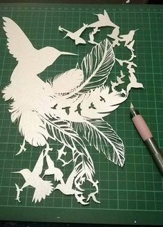 Cut Your Own Humming Bird Paper Cut Template - PERSONAL Use JPEG hope feather birds