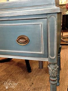 Vintage Furniture white wax on painted furniture, chalk paint, painted furniture - I recently painted a hutch in Aubusson Blue Chalk Paint and when I was done it looked a little well blue. So I decided to apply White Wax to highlight the detai… Refurbished Furniture, Repurposed Furniture, Furniture Makeover, Dresser Makeovers, Reclaimed Furniture, Industrial Furniture, Furniture Projects, Diy Furniture, Blue Painted Furniture