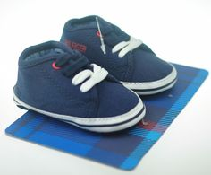 Tommy Hilfiger Baby Boys Soft Sole Sneaker/Shoe Blue US Size 2 (3-6mths) NEW