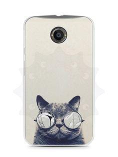 Capa Capinha Moto X2 Gato Com Óculos - SmartCases - Acessórios para celulares e tablets :)