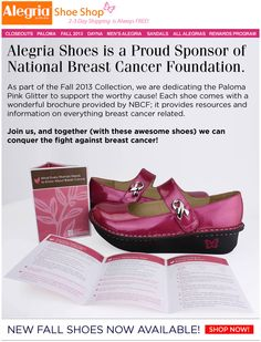 Join Alegria Shoe Shop in the fight against breast cancer!  | Alegria Cherokee Store #AlegriaShoes #BreastCancerAwareness #CharlotteNC #FREEShipping