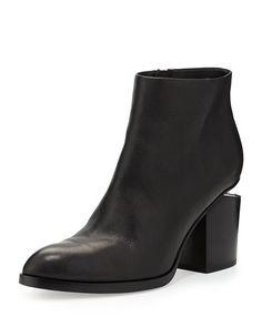 X2HVK Alexander Wang Gabi Leather Bootie with Tilt-Effect Heel, Black