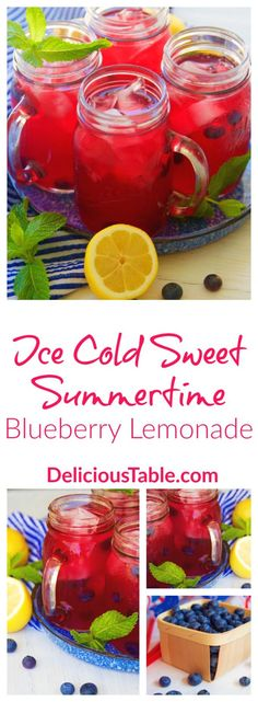 Ice Cold Sweet Summertime Blueberry Lemonade made in minutes with homemade blueberry syrup, fresh lemon juice, and sweet local honey. Summer in every sip!
