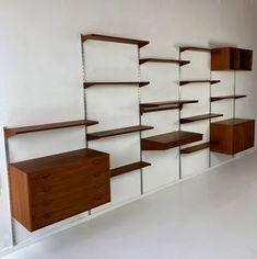 Wall unit by Kai Kristiansen for Feldballes Møbelfabrik, Denmark Bookshelves Built In, Built Ins, 1960s Furniture, Furniture Ideas, Mid Century Wall Unit, Clothing Store Design, Library Wall, Wall Storage, Floating Shelves