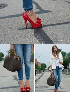 Styleress Shoes, Louis Vuitton Bag, Gina Tricot Jeans, Celine Tshirt, Lookbookstore Blazer