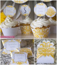 yellow+and+gray+cupcake+liners | Yellow and Gray Baby Shower Printables Gender Neutral - Damask by ...