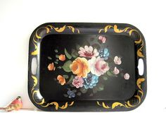 Vintage Metal Tole Tray Large / Black Floral / Hand Painted Cottage Chic. $24.00, via Etsy.