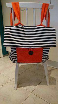 Nice backpack, black and white stripes, orange details Cool Backpacks, Gym Bag, Stripes, Black And White, Orange, Chair, Nice, Bags, Furniture