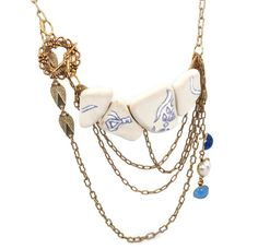 Blue & White  Pottery Shard Bib Necklace  by InVintageHeaven, $58.00