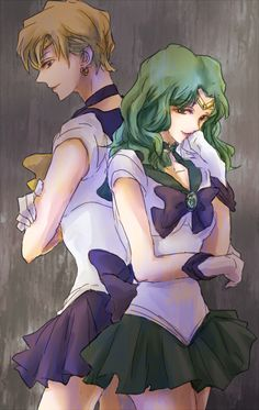 by きゃべつ, Sailor Uranus and Sailor Neptune of Sailor Moon
