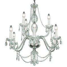 Transglobe 9 Light Crystal Chandelier in Silver