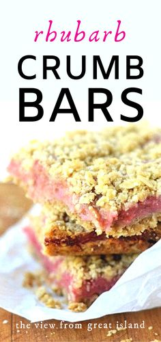 These easy Rhubarb Crumb Bars are the very first thing I bake when I see the first rhubarb of the season. The tangy rhubarb filling sandwiched between a butter oat crumb crust is irresistible! Rhubarb Dishes, Rhubarb Desserts, Spring Desserts, Rhubarb Recipes, Fruit Recipes, Brownie Recipes, Sweet Recipes, Dessert Recipes, Tart Recipes