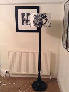 Black Wooden Standard/floor Lamp With 45cm Drum Shade, Sanderson Mandarin Flower