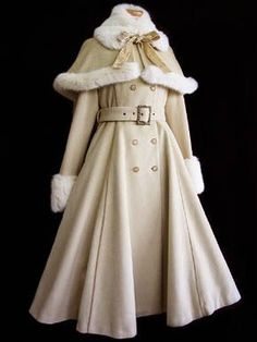 vintage fur trimmed coat with capelet... The top reminds me of Belle's cloak…
