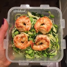 """Close up on dinner: Zoodles, edamame and basil salad seasoned with lime, salt and pepper, with a dash of agave and topped with @flavorgod spicy everything seasoning pan seared jumbo shrimps. I'll add 1/2 an avocado to it at time of serving to avoid browning. "" Photo taken by @fitchickscook on Instagram, pinned via the InstaPin iOS App! http://www.instapinapp.com (01/25/2015)"