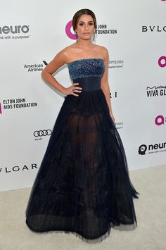 Lea Michele in a Pamella Roland gown, Stuart Weitzman heels, and Lorraine Schwartz jewelry at Elton John's AIDS Foundation Oscars viewing party