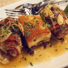 #Sweetbreads wrapped in #pancetta, then grilled and drizzled in lemon caper butter... Whole lot of delicious.