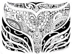 Dessin de Tatouage Maori Polynésien impressionnant et qui représente la queue d'une baleine
