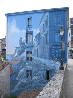 Beautifully painted blue building.