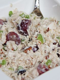 "I love chicken salad! If you want a refreshing meal that will leave your taste buds smiling then try the ""Skinny Mom Skinny Chicken Salad""! The fruit and nuts add a great kick to the chicken salad! It is SO delicious! Healthy Recipes, Skinny Recipes, Healthy Snacks, Healthy Eating, Cooking Recipes, Skinny Meals, Cookbook Recipes, Cooking Tips, Easy Recipes"